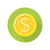 Dollar Gold Coin Vector Icon in Flat Style Design. Dollar gold coin vector icon in flat style. Investment, gambling, savings, winings concept. Illustration for Stock Photo