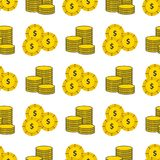 Dollar gold coins currency vector bank finance business seamless pattern. Money background. Wrapping financial economy gold sign Stock Photography