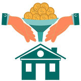 Dollar gold coins turn into the house through a Funnel. In his hands. Investments in real estate, insurance. Buying a home Stock Image