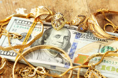 Dollar bills or money with gold Stock Photography