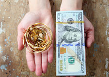 Dollar bills or money with gold Stock Photo