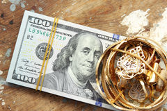 Dollar bills or money with gold Royalty Free Stock Photo