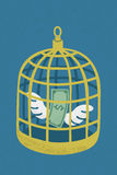 Dollar in golden bird cage Stock Image