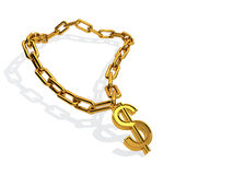 Dollar golden chain. Computer rendered dollar golden chain on white background Royalty Free Stock Photography
