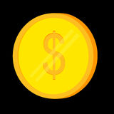 Dollar Golden Coin at Black Background. Vector Golden Coin at Black Backgroundn Royalty Free Stock Photos