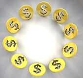 Dollar golden coin symbol circle composition Stock Photo