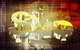 Dollar in golden colour Royalty Free Stock Image