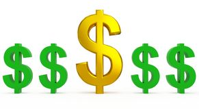Dollar supply. Dollar golden and green currency symbols Royalty Free Stock Image
