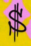 Dollar graffiti. Dollar sign graffiti on city wall Stock Photo