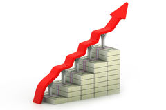 Dollar graph. 3d render of Dollar graph stock illustration