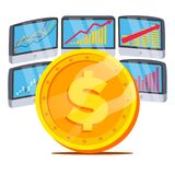 Dollar With Graph Diagram Vector. Trading Monitors And Trend. Currency Investment Concept. Banking And Money. Isolated.  Royalty Free Stock Photos