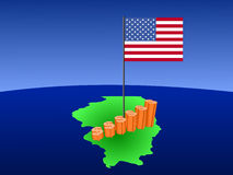 Dollar graph on Illinois map Royalty Free Stock Photos