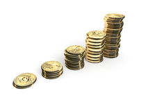 Dollar Graph. Graph of one-dollar coins, white background Royalty Free Stock Photo