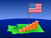 Dollar graph on Washington map Royalty Free Stock Image