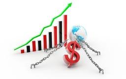Dollar, graphique de gestion et globe illustration libre de droits
