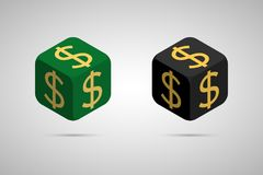 Dollar. Green and Black Dollar Cube. Isometric Cube with Golden Dollar Sign on the Sides. Isolated Cubic Figure with Shadow Royalty Free Stock Photo
