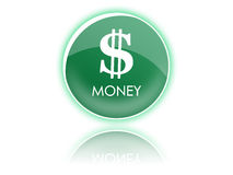 Dollar green button. Dollar and money green button graphic, photoshop made Royalty Free Stock Photography