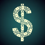 Dollar green pattern. Pattern dollar business, plain, vector format Stock Photography