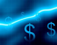 Dollar $ growing chart. Dollars with Blue Background and chart Stock Images