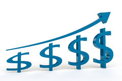 Dollar Growth. Four Dollar signs growing in size with an arrow above pointing in an upwards direction set against a white background Royalty Free Stock Image