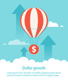 Dollar growth. Balloon lifts up coin Royalty Free Stock Photography