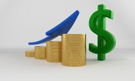 Dollar growth concept, 3d rendering. Dollar growth concept, 3d render Royalty Free Stock Images