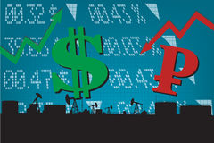 Dollar growth,Ruble decline illustration. With red down and green up arrow, stock market display numbers ,oil refinery landscape silhouettes Royalty Free Stock Image