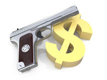 Dollar and a gun Royalty Free Stock Photography