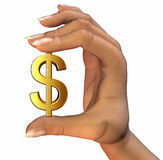 Dollar In Hand. 3D illustration of money icon in hand, isolated on a white background Stock Photography