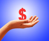 Dollar in hand Royalty Free Stock Images