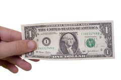 Dollar in a hand Royalty Free Stock Photos