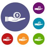 Dollar in hand icons set. In flat circle reb, blue and green color for web Stock Photos