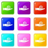 Dollar in hand set 9. Dollar in hand icons of 9 color set isolated vector illustration Stock Photography