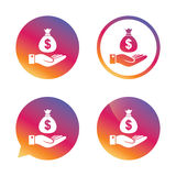 Dollar and hand sign. Palm holds money bag. Royalty Free Stock Images