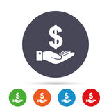 Dollar and hand sign. Palm holds money USD. Stock Photography