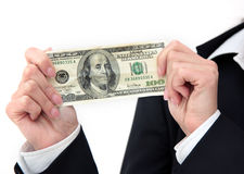 Dollar in hands closeup Stock Photo