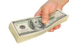Dollarbanknotengeld in der Hand Lizenzfreie Stockfotografie