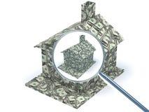 Dollar-Haus unter Lupe lizenzfreie abbildung