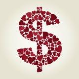 Dollar heart Royalty Free Stock Image