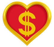 Dollar heart Royalty Free Stock Images