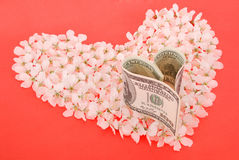 Dollar from heart on heart made of flowers. Royalty Free Stock Photo