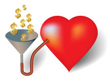 Dollar heart Stock Photo