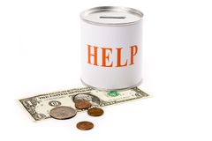 Dollar and help Box. Concept of financial support Stock Photo