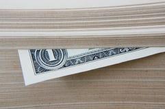 Dollar hielt im Buch. Stockfotografie