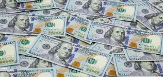 Dollar Hintergrund Amerikanische Dollar Bargeld- Hundert Dollarbanknoten Hundert Dollars Benjamin Franklins portrai stockbilder