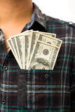 Dollar in his front pocket. Stock Photography