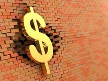 Dollar hit brick wall. Abstract 3d illustration of dollar symbol hit brick wall Royalty Free Stock Photos