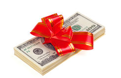 Dollar with holidays bow Stock Photography