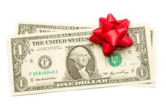 Dollar with holidays bow Stock Photo
