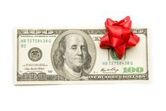 Dollar with holidays bow Royalty Free Stock Photos